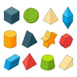 3d model of geometry shapes. Colored pictures sets.. Pyramids, stars, cube and others. Pyramid and cube, geometry model cylinder and hexagon illustration Royalty Free Stock Photography