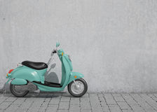 3D model of green vintage scooter in front of the old wall, background Stock Photo