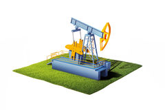 3d model of ground with grass and oil pump jack isolated on whi Royalty Free Stock Photography