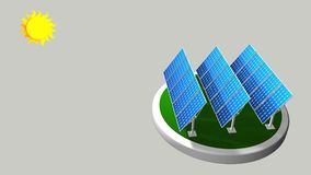 3D model of a group of solar panels following the path of the sun with white background  - Renewable Energy Royalty Free Stock Image
