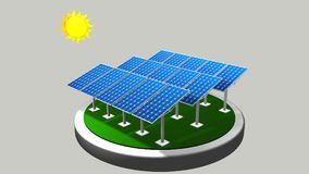 3D model of a group of solar panels following the path of the sun with white background  - Renewable Energy Stock Image