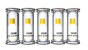 3D model grupa 5 zbiorników białego metalu odbijający zbiornik z żółtą etykietką widzieć od przodu na białym tle 3D renderin royalty ilustracja