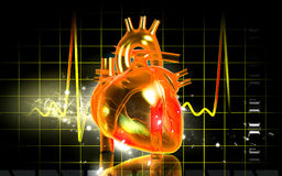 3D heart. A 3D model of a heart with EKG in the background Stock Photography