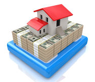 3d model house на stacks of dollar bills Stock Photography