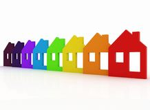 3d model house symbol set. 3d multicolored model house symbol set Royalty Free Stock Photography