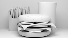 3d model of junk food. 3d model of cheese burger, fries and drink Stock Photos