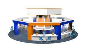 3D model of a kiosk for sales in an octagonal fair with chairs for customers and vendors on a circular carpet. Stand in white, blue and orange colors on white vector illustration