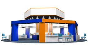 3D model of a kiosk for sales in an octagonal fair with chairs for customers and vendors on a circular carpet. Stand in white, blue and orange colors on white royalty free illustration