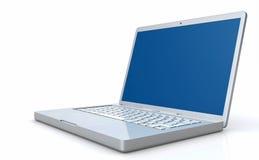 3D model of laptop computer. A 3D illustration of an opened laptop computer stock illustration