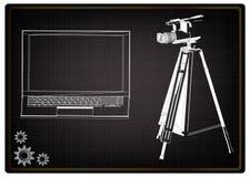 3d model laptop i kamera wideo z tripod ilustracja wektor