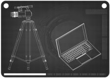 3d model laptop i kamera wideo z tripod ilustracji