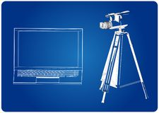 3d model laptop i kamera wideo z tripod royalty ilustracja
