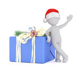3d model lean on the christmas gift box. With christmas hat Royalty Free Stock Photo
