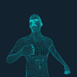 3D Model of Man. Polygonal Design. Geometric Design. Business, Science and Technology Vector Illustration. 3d Polygonal Covering Skin. Human Polygon Body Stock Photo