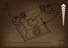 3d model of phone. On a brown background. Drawing Stock Photo