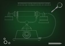 3d model of phone. On a green background. Drawing Stock Images