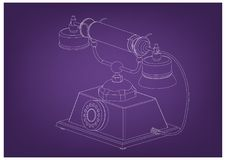 3d model of phone. On a purple background. Drawing Royalty Free Stock Photo
