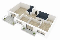 3d model pusty domowy mieszkanie royalty ilustracja
