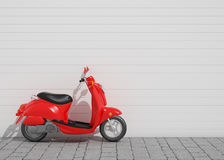 3D model of red vintage scooter in front of the wall, background Stock Photo