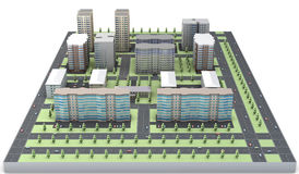3D model of a residential area Royalty Free Stock Image