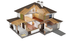 3d model of sliced house. A conceptual image of a modern cottage, three-dimensional model Royalty Free Stock Images