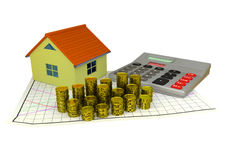 3D model of small house, golden coins, graph and. Calculator - mortgage concept Stock Images