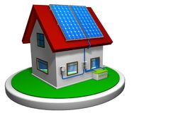 3D model of a small house with a solar energy system installed, with 4 solar panels on the red roof on a white disk Stock Photography