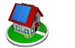3D model of a small house with a solar energy system installed, with 4 solar panels on the red roof on a white disk Stock Images