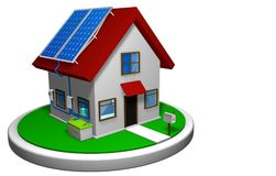 3D model of a small house with a solar energy system installed, with 4 solar panels on the red roof on a white disk Royalty Free Stock Photography