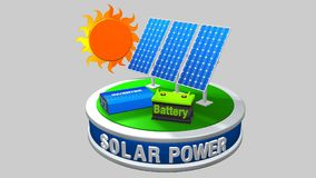 3D model of a solar energy equipment consisting of 3 solar panels, an inverter and a battery with the sun behind Stock Photo
