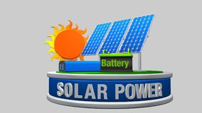 3D model of a solar energy equipment consisting of 3 solar panels, an inverter and a battery with the sun behind Royalty Free Stock Images