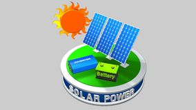3D model of a solar energy equipment consisting of 3 solar panels, an inverter and a battery with the sun behind Royalty Free Stock Image