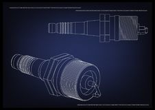 3d model of the spark plug. On a blue background. Drawing Royalty Free Stock Photo