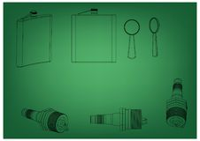 3d model of the spark plug. On a green background. Drawing Royalty Free Stock Photography
