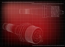 3d model of the spark plug. On a red background. Drawing Stock Images