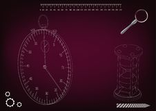 3d model of a stopwatch and an hourglass. On a burgundy background. Drawing Stock Photo