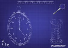 3d model of a stopwatch and an hourglass. On a blue background. Drawing Stock Photography