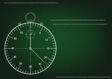 3d model of a stopwatch and an hourglass. On a green background. Drawing Stock Photo