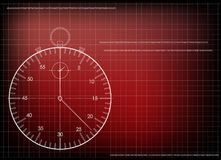 3d model of a stopwatch. On a red background. Drawing Stock Image