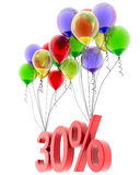 3d model thirty percent discount. Discount of thirty percent of the flies on the balloons. 3d model Stock Photos