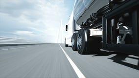 3d model van benzinetanker, aanhangwagen, vrachtwagen op weg Zeer snel drijvend Realistische 4K animatie Olieconcept stock illustratie