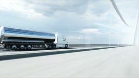 3d model van benzinetanker, aanhangwagen, vrachtwagen op weg Zeer snel drijvend Realistische 4K animatie Olieconcept royalty-vrije illustratie