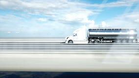 3d model van benzinetanker, aanhangwagen, vrachtwagen op weg Zeer snel drijvend Realistische 4K animatie Olieconcept vector illustratie