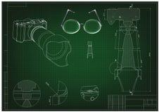 3d model van de camera op green Tekening Stock Afbeelding
