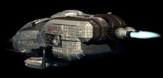 Futuristisch 3D ruimteschip in diepe ruimtevaart Stock Afbeeldingen