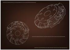 3d model van de remschijf Stock Afbeeldingen