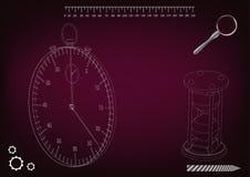 3d model van een chronometer en een zandloper Royalty-vrije Stock Fotografie