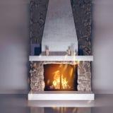 3d model van een open haard van steen wordt gemaakt die Hoekje bij de haard, chaletstijl in het binnenland stock illustratie