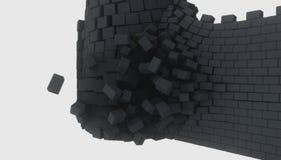 3D model van een oud vernietigd kasteel vector illustratie