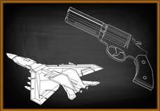 3d model van een pistool royalty-vrije illustratie